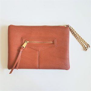 Co-lab vegan leather clutch with gold chain.